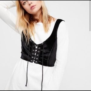 Free People lace up velvet vest NWT